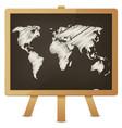 world map on classroom blackboard vector image