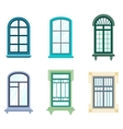 Set of isolated house window frames vector image