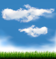 Background with blue sky and grass vector image