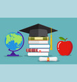 education concept graduate hat globe books vector image vector image