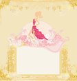 fashion silhouettes girl Shopping - abstract frame vector image vector image
