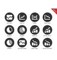 Line chart icons on white background vector image vector image