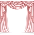 Big pink curtain draped with lambrequins isolated vector image