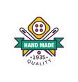 handmade logo template quality since 1935 retro vector image