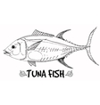 Tuna fish doodle in lines on white background vector image