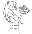 Woman and healthy dish with fruits vector image