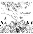 zentangl the horse in flowers vector image