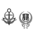 Marine anchors with ribbons and laurel wreathes vector image