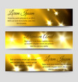 abstract banners collection with golden flashes vector image vector image