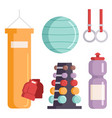fitness gym club icons athlet and sport vector image