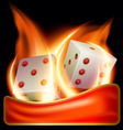 two burning dices vector image