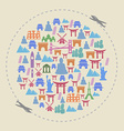 travel around the famous landmarks vector image