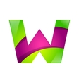 W letter green and pink logo design template vector image