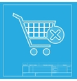 Shopping Cart with delete sign White section of vector image