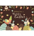 Easter chickenbunny and easter eggs vector image