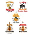 Emblems and icons for music festival concert vector image