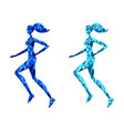 running young woman abstract polygonal vector image