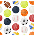 sports balls seamless pattern background vector image