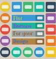 Ticket icon sign Set of twenty colored flat round vector image