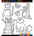 Cartoon Cats or Kittens Coloring Page vector image vector image