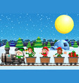 christmas elves on train at night vector image vector image