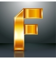 Letter metal gold ribbon - F vector image