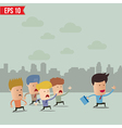 Business cartoon team group with leader - - vector image