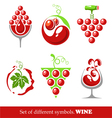 signs and symbols of wine and grapes vector image vector image