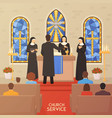 church service religious ceremony flat banner vector image