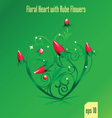floral green heart vector image