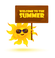 Funny cartoon sun wearing sunglasses with banner vector image
