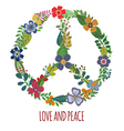 Peace symbol with colorful flowers vector image