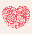 Red flower heart vector image
