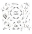 set of branches flowers leaves and bushes vector image