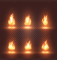 isolated abstract realistic fire flame images set vector image