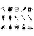 Black bathroom accessories icon set vector image vector image