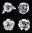 Black silhouette of rose set vector image