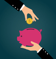 Business hand putting coin into a piggy bank vector image vector image