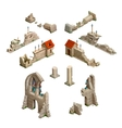 Big set of medieval buildings isometric game art vector image