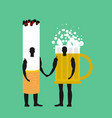 cigarette and beer mug friends friendship alcohol vector image