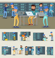 datacenter professional workers collection vector image