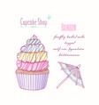 hand drawn rainbow cupcake vector image