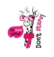 head giraffe sketch pink glasses scarf vector image