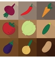 Set of 9 vegetables on brown background vector image