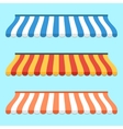 Set of colorful striped awnings for shop and vector image