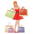Shopping girl with red hair vector image