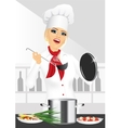 smiling female chef cook or baker cooking vector image