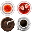Top view of hot and cold drinks vector image