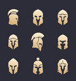 helmets set spartan greek roman armor vector image