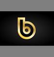 b gold golden letter logo icon design vector image
